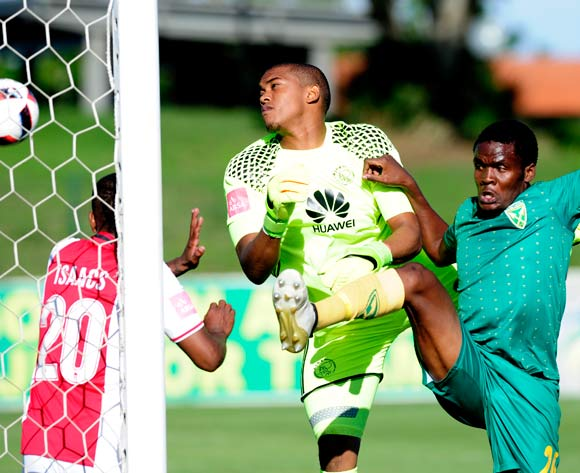 Danny Phiri of Lamontville Golden Arrows misses and so does Jody February (GK)  of Ajax Cape Town F.C. but the goal was scored by Nkanyios Mngwengwe of Lamontville Golden Arrows during the Absa Premiership 2016/17 game between Golden Arrows and Ajax Cape Town at Prince Magogo Stadium in Durban, KwaZulu-Natal on 15 April 2017 © Gerhard Duraan/BackpagePix