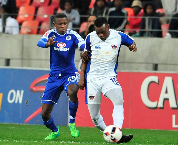 Teboho Mokoena of Supersport United and Andile Mbenyane of Chippa United during the Absa Premiership 2016/17 game between Chippa United and Supersport United  at Nelson Mandela Bay Stadium in Port Elizabeth on 17 May 2017 © Deryck Foster/BackpagePix