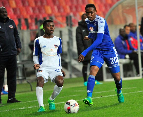 Sizwe Mdlinzo of Chippa United  and Paseka Mako of Chippa United during the Absa Premiership 2016/17 game between Chippa United and Supersport United  at Nelson Mandela Bay Stadium in Port Elizabeth on 17 May 2017 © Deryck Foster/BackpagePix