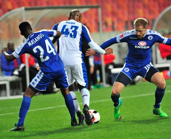 Mandla Masango and Michael Morton of Supersport United block Katlego Mashego of Chippa United during the Absa Premiership 2016/17 game between Chippa United and Supersport United  at Nelson Mandela Bay Stadium in Port Elizabeth on 17 May 2017 © Deryck Foster/BackpagePix