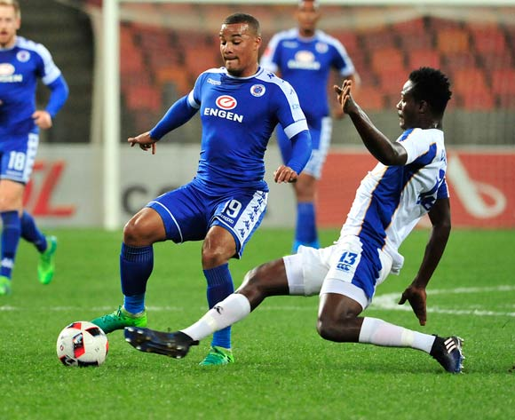 Justice Chabalala of Chippa United and Fagrie Lakay of Supersport United during the Absa Premiership 2016/17 game between Chippa United and Supersport United  at Nelson Mandela Bay Stadium in Port Elizabeth on 17 May 2017 © Deryck Foster/BackpagePix