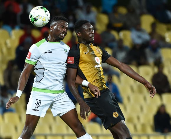 Enocent Mkhabela of Platinum Stars and Erick Mathoho of Kaizer Chiefs during the Absa Premiership 2016/17 game between Platinum Stars and Kaizer Chiefs at Royal Bafokeng Stadium in Rustenburg on 17 May 2017 © Anton de Villiers/BackpagePix