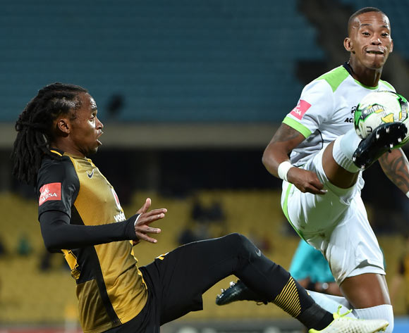 Vuyo Mere of Platinum Stars clears ball from Siphiwe Tshabalala of Kaizer Chiefs during the Absa Premiership 2016/17 game between Platinum Stars and Kaizer Chiefs at Royal Bafokeng Stadium in Rustenburg on 17 May 2017 © Anton de Villiers/BackpagePix