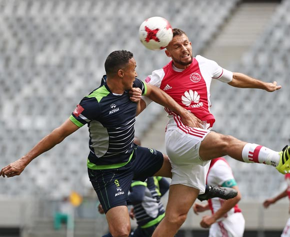 Roscoe Pietersen of Ajax Cape Town battles for the ball with Henrico Botes of Platinum Stars during the Absa Premiership 2016/17 football match between Ajax Cape Town and Platinum Stars at Cape Town Stadium, Cape Town on 30 April 2017 ©Chris Ricco/BackpagePix