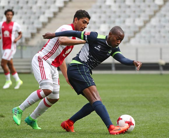 Sibusiso Msomi of Platinum Stars challenged by Travis Graham of Ajax Cape Town during the Absa Premiership 2016/17 football match between Ajax Cape Town and Platinum Stars at Cape Town Stadium, Cape Town on 30 April 2017 ©Chris Ricco/BackpagePix