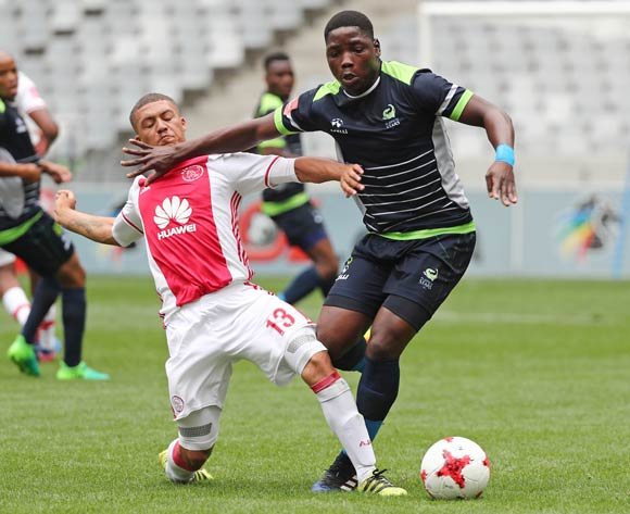 Sphamandla Mlilo of Platinum Stars tackled by Grant Margeman of Ajax Cape Town during the Absa Premiership 2016/17 football match between Ajax Cape Town and Platinum Stars at Cape Town Stadium, Cape Town on 30 April 2017 ©Chris Ricco/BackpagePix