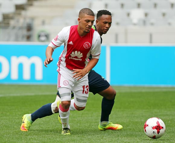 Grant Margeman of Ajax Cape Town gets away from Solomon Mathe of Platinum Stars during the Absa Premiership 2016/17 football match between Ajax Cape Town and Platinum Stars at Cape Town Stadium, Cape Town on 30 April 2017 ©Chris Ricco/BackpagePix