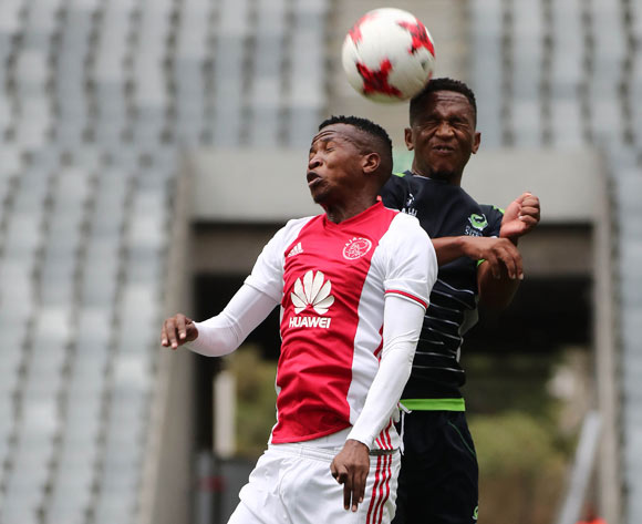 Thabo Mosadi of Ajax Cape Town battles for the ball with Luvolwethu Mpeta of Platinum Stars during the Absa Premiership 2016/17 football match between Ajax Cape Town and Platinum Stars at Cape Town Stadium, Cape Town on 30 April 2017 ©Chris Ricco/BackpagePix