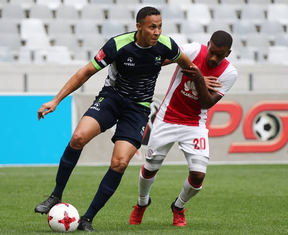 Henrico Botes of Platinum Stars evades challenge from Erwin Isaacs of Ajax Cape Town during the Absa Premiership 2016/17 football match between Ajax Cape Town and Platinum Stars at Cape Town Stadium, Cape Town on 30 April 2017 ©Chris Ricco/BackpagePix