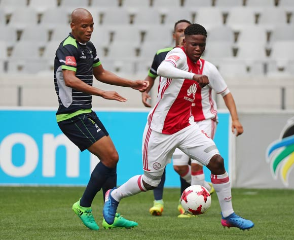 Ndiviwe Mdabuka of Ajax Cape Town gets away from Solomon Mathe of Platinum Stars during the Absa Premiership 2016/17 football match between Ajax Cape Town and Platinum Stars at Cape Town Stadium, Cape Town on 30 April 2017 ©Chris Ricco/BackpagePix