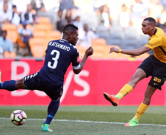 Ryan Moon of Kaizer Chiefs challenged by Thulani Hlatshwayo of Bidvest Wits during the Absa Premiership 2016/17 match between Kaizer Chiefs and Bidvest Wits at the FNB Stadium, Johannesburg South Africa on 27 May 2017 ©Muzi Ntombela/BackpagePix