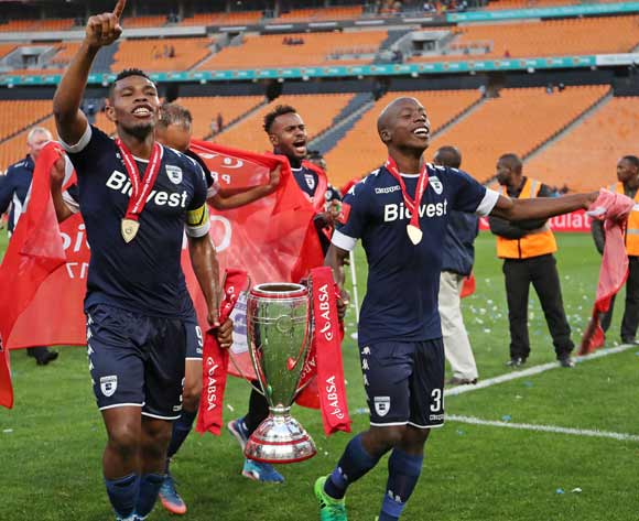 Thulani Hlatshwayo and Ben Motshwari of Bidvest Wits holds aloft the trophy as Wits are crowned the 2016/2017 Absa Premiership Champions during the Absa Premiership 2016/17 match between Kaizer Chiefs and Bidvest Wits at the FNB Stadium, Johannesburg South Africa on 27 May 2017 ©Muzi Ntombela/BackpagePix