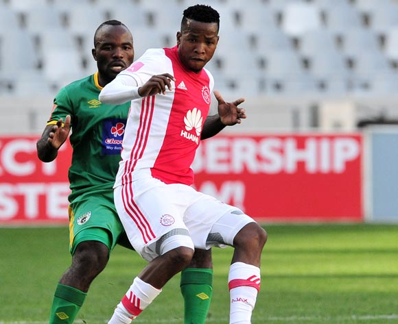 Thabo Mosadi of Ajax Cape Town is challenged by Matome Kgoetyane of Baroka during the Absa Premiership 2016/17 game between Ajax Cape Town and Baroka FC at Cape Town Stadium on 27 May 2017 © Ryan Wilkisky/BackpagePix