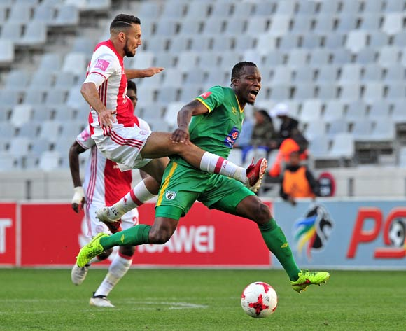 Letladi Madubanya of Baroka is fouled by Roscoe Pietersen of Ajax Cape Town who receives a red card for the tackle during the Absa Premiership 2016/17 game between Ajax Cape Town and Baroka FC at Cape Town Stadium on 27 May 2017 © Ryan Wilkisky/BackpagePix