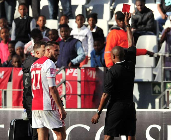 Roscoe Pietersen of Ajax Cape Town is sent off by referee Kulsande Qongqo during the Absa Premiership 2016/17 game between Ajax Cape Town and Baroka FC at Cape Town Stadium on 27 May 2017 © Ryan Wilkisky/BackpagePix