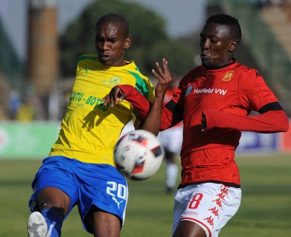 Anele Ngcongca of Mamelodi Sundowns is challenged by Seun Ledwaba of Highlands Park during the  Absa Premiership match between Highlands Park and Mamelodi Sundowns on 27 May 2017 at Makhulong Stadium © Sydney Mahlangu /BackpagePix