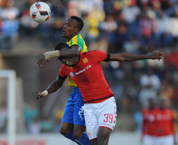 Chris Katjiukua of Highlands Park  challenges Yannick Zakri of Mamelodi Sundowns  during the  Absa Premiership match between Highlands Park and Mamelodi Sundowns on 27 May 2017 at Makhulong Stadium © Sydney Mahlangu /BackpagePix