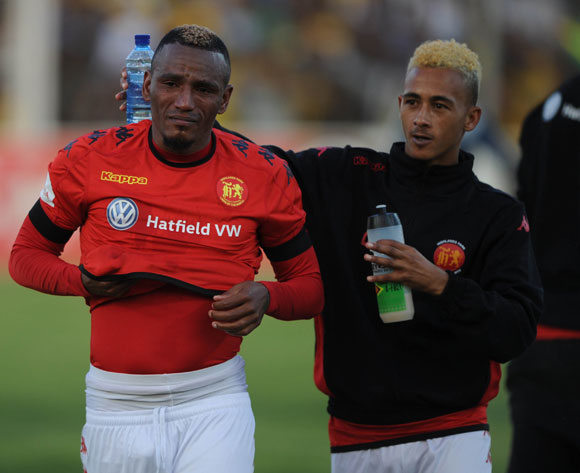 Franklin Cale of Highlands Park and Brandon Theron of Highlands Park in tears during the Absa Premiership match between Highlands Park and Mamelodi Sundowns on 27 May 2017 at Makhulong Stadium © Sydney Mahlangu /BackpagePix
