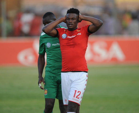 Muzi Thabotha of Highlands Park dejected during the Absa Premiership match between Highlands Park and Mamelodi Sundowns on 27 May 2017 at Makhulong Stadium © Sydney Mahlangu /BackpagePix