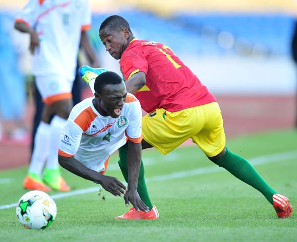 Yacine Wa Massamba of Niger tackled by Ismael Traore of Guinea during the 2017 Under 17 Africa Cup of Nations Finals match between Niger and Guinea at the Libreville Stadium in Gabon on 28 May 2017 ©Samuel Shivambu/BackpagePix