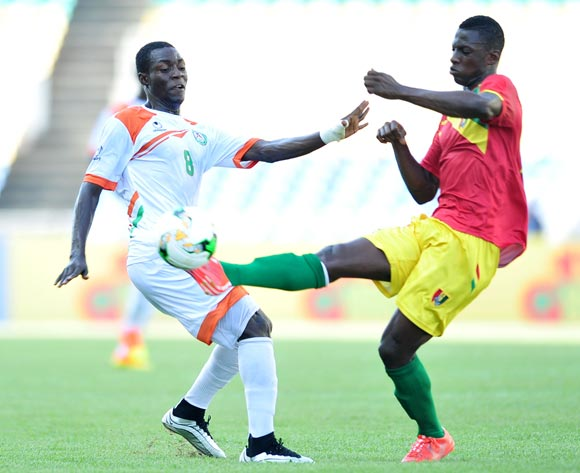 Habibou Sofiane of Niger challenged by Ismael Traore of Guinea during the 2017 Under 17 Africa Cup of Nations Finals match between Niger and Guinea at the Libreville Stadium in Gabon on 28 May 2017 ©Samuel Shivambu/BackpagePix