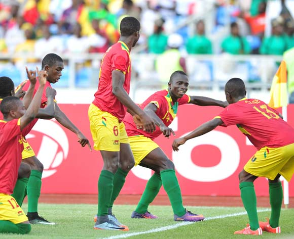 Djibril Fandje Toure of Guinea celebrates a goal with teammates during the 2017 Under 17 Africa Cup of Nations Finals match between Niger and Guinea at the Libreville Stadium in Gabon on 28 May 2017 ©Samuel Shivambu/BackpagePix