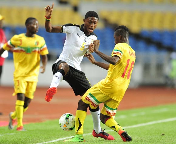 Najeeb Yakubu of Ghana challenged by Ibrahim Kane of Mali during the 2017 Under 17 Africa Cup of Nations Finals match between Ghana and Mali at the Libreville Stadium in Gabon on 28 May 2017 ©Samuel Shivambu/BackpagePix