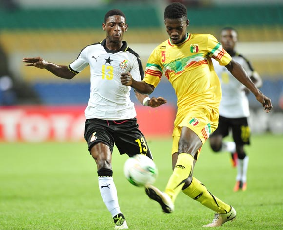 Mamadi Fofana of Mali challenged by Gabriel Leveh of Ghana during the 2017 Under 17 Africa Cup of Nations Finals match between Ghana and Mali at the Libreville Stadium in Gabon on 28 May 2017 ©Samuel Shivambu/BackpagePix