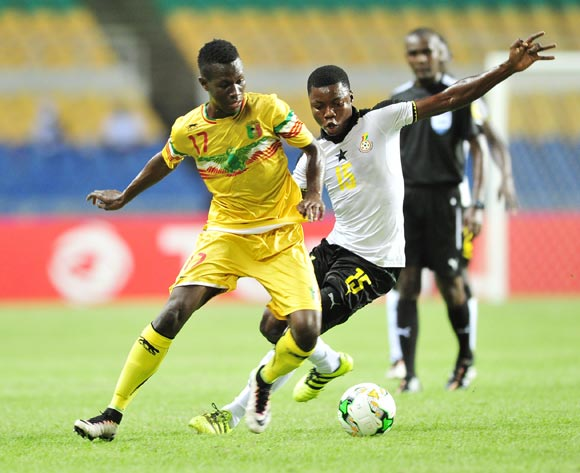 Mamadou Samake of Mali challenged by Faisal Osman of Ghana during the 2017 Under 17 Africa Cup of Nations Finals match between Ghana and Mali at the Libreville Stadium in Gabon on 28 May 2017 ©Samuel Shivambu/BackpagePix