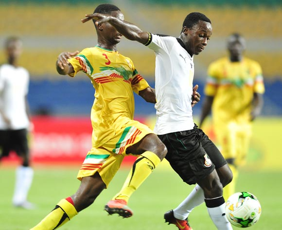 Emmanuel Toku of Ghana challenged by Djemoussa Traore of Mali during the 2017 Under 17 Africa Cup of Nations Finals match between Ghana and Mali at the Libreville Stadium in Gabon on 28 May 2017 ©Samuel Shivambu/BackpagePix