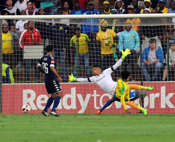 Percy Tau of Mamelodi Sundowns misses a chance at goal during the Absa Premiership match between Bidbest Wits and Mamelodi Sundowns on 01 May 2017 at Bidvest Stadium  © Sydney Mahlangu /BackpagePix