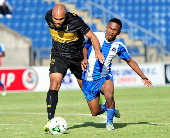 Mondli Dlamini of Maritzburg United challenged by Robyn Johannes of Cape Town City during the Absa Premiership 2016/17 match between Maritzburg United and Cape Town City at the Harry Gwala Stadium, South Africa on 01 May 2017 ©Samuel Shivambu/BackpagePix
