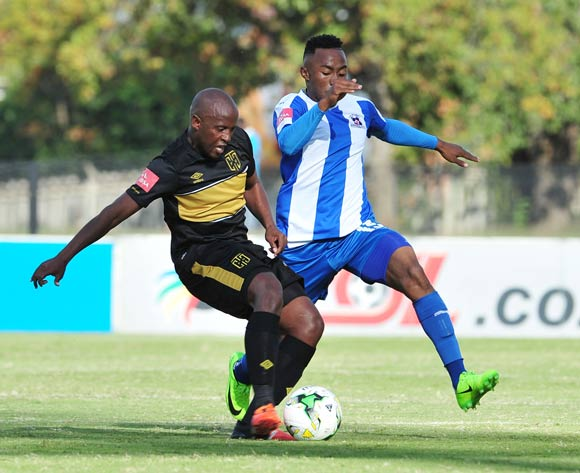 Vincent Kobola of Cape Town City challenged by Lebohang Maboe of Maritzburg United during the Absa Premiership 2016/17 match between Maritzburg United and Cape Town City at the Harry Gwala Stadium, South Africa on 01 May 2017 ©Samuel Shivambu/BackpagePix