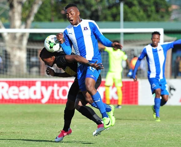 Lebohang Maboe of Maritzburg United challenged by Bongolethu Jayiya of Cape Town City during the Absa Premiership 2016/17 match between Maritzburg United and Cape Town City at the Harry Gwala Stadium, South Africa on 01 May 2017 ©Samuel Shivambu/BackpagePix