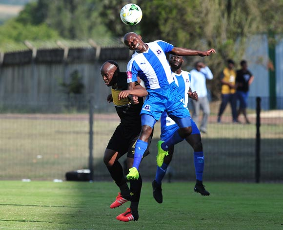 Siphesihle Ndlovu of Maritzburg United challenged by Vincent Kobola of Cape Town City during the Absa Premiership 2016/17 match between Maritzburg United and Cape Town City at the Harry Gwala Stadium, South Africa on 01 May 2017 ©Samuel Shivambu/BackpagePix