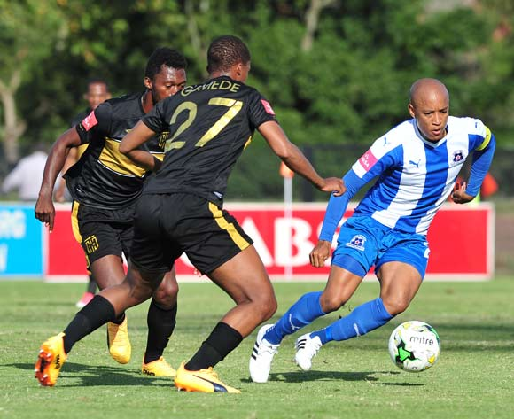 Kurt Lentjies of Maritzburg United challenged by Tshepo Gumede of Cape Town City during the Absa Premiership 2016/17 match between Maritzburg United and Cape Town City at the Harry Gwala Stadium, South Africa on 01 May 2017 ©Samuel Shivambu/BackpagePix