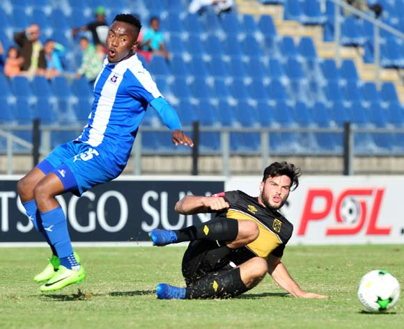Lebohang Maboe of Maritzburg United challenged by Roland Putsche of Cape Town City during the Absa Premiership 2016/17 match between Maritzburg United and Cape Town City at the Harry Gwala Stadium, South Africa on 01 May 2017 ©Samuel Shivambu/BackpagePix