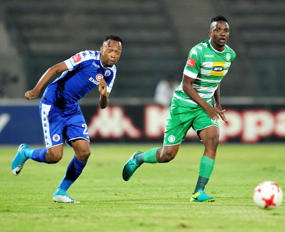Tshepo Rikhotso of Bloemfontein Celtic challenged by Thabo Mnyamane of Supersport United during the Absa Premiership 2016/17 match between Supersport United and Bloemfontein Celtic at the Lucas Moripe Stadium, South Africa on 03 May 2017 ©Samuel Shivambu/BackpagePix