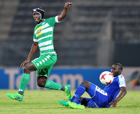 Mpho Maruping of Bloemfontein Celtic challenged by Aubrey Modiba of Supersport United during the Absa Premiership 2016/17 match between Supersport United and Bloemfontein Celtic at the Lucas Moripe Stadium, South Africa on 03 May 2017 ©Samuel Shivambu/BackpagePix