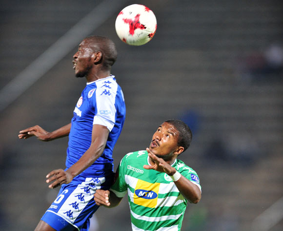 Aubrey Modiba of Supersport United challenged by Lyle Lakay of Bloemfontein Celtic during the Absa Premiership 2016/17 match between Supersport United and Bloemfontein Celtic at the Lucas Moripe Stadium, South Africa on 03 May 2017 ©Samuel Shivambu/BackpagePix