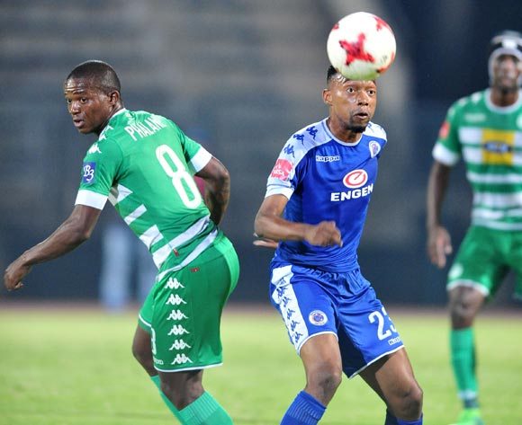 Thabo Mnyamane of Supersport United challenged by Lantshene Phalane of Bloemfontein Celtic during the Absa Premiership 2016/17 match between Supersport United and Bloemfontein Celtic at the Lucas Moripe Stadium, South Africa on 03 May 2017 ©Samuel Shivambu/BackpagePix