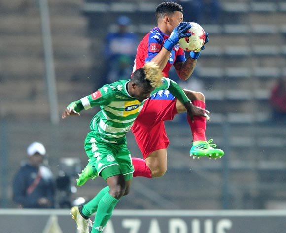 Fiston Abdul Razak of Supersport United challenged by Tshepo Rikhotso of Bloemfontein Celtic during the Absa Premiership 2016/17 match between Supersport United and Bloemfontein Celtic at the Lucas Moripe Stadium, South Africa on 03 May 2017 ©Samuel Shivambu/BackpagePix