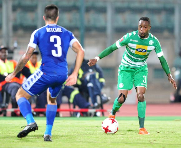 Mthokozisi Dube of Bloemfontein Celtic challenged by Keegan Ritchie of Supersport United during the Absa Premiership 2016/17 match between Supersport United and Bloemfontein Celtic at the Lucas Moripe Stadium, South Africa on 03 May 2017 ©Samuel Shivambu/BackpagePix
