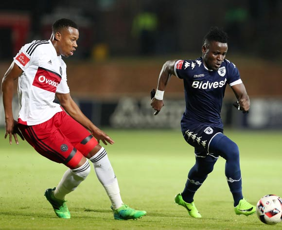 Gabadinhno Mhango of Bidvest Wits challenged by Happy Jele of Orlando Pirates during the Absa Premiership 2016/17 match between Bidvest Wits and Orlando Pirates at Bidvest Stadium in Johannesburg, South Africa on 04 May 2017 ©Muzi Ntombela/BackpagePix