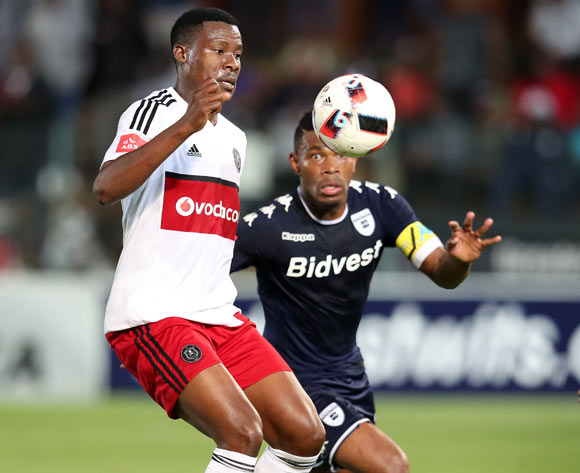 Thamsanqa Gabuza of Orlando Pirates challenged by Thulani Hlatshwayo of Bidvest Wits during the Absa Premiership 2016/17 match between Bidvest Wits and Orlando Pirates at Bidvest Stadium in Johannesburg, South Africa on 04 May 2017 ©Muzi Ntombela/BackpagePix