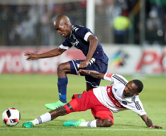 Thabo Rakhale of Orlando Pirates tackles Phumlani Ntshangase of Bidvest Wits during the Absa Premiership 2016/17 match between Bidvest Wits and Orlando Pirates at Bidvest Stadium in Johannesburg, South Africa on 04 May 2017 ©Muzi Ntombela/BackpagePix