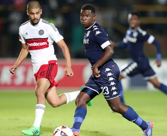 Sifiso Myeni of Bidvest Wits challenged by Abbubaker Mobara of Orlando Pirates during the Absa Premiership 2016/17 match between Bidvest Wits and Orlando Pirates at Bidvest Stadium in Johannesburg, South Africa on 04 May 2017 ©Muzi Ntombela/BackpagePix
