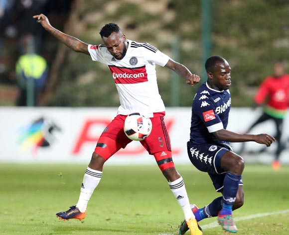 Mpho Makola of Orlando Pirates challenged by Cuthbert Malajila of Bidvest Wits during the Absa Premiership 2016/17 match between Bidvest Wits and Orlando Pirates at Bidvest Stadium in Johannesburg, South Africa on 04 May 2017 ©Muzi Ntombela/BackpagePix