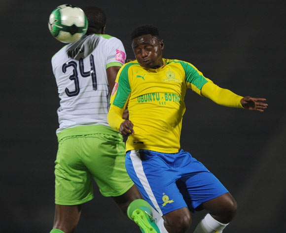 Lucky Mohomi of Mamelodi Sundowns is challenged by Bonginkosi Ntuli of Platinum Stars during the Absa Premiership match between Mamelodi Sundowns and Platinum Stars on 04 May 2017 at Lucas Moripe Stadium  © Sydney Mahlangu /BackpagePix