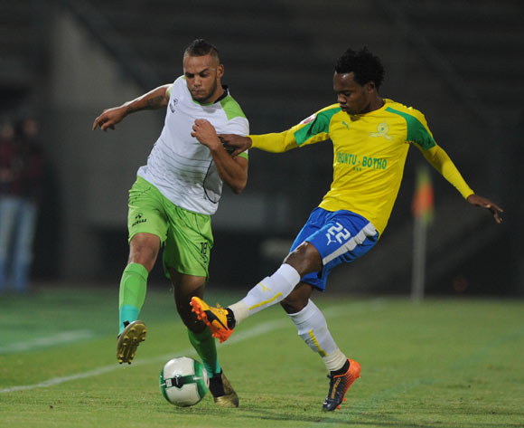 Percy Tau of Mamelodi Sundowns challenges Ryan De Jongh of Platinum Stars during the Absa Premiership match between Mamelodi Sundowns and Platinum Stars on 04 May 2017 at Lucas Moripe Stadium  © Sydney Mahlangu /BackpagePix